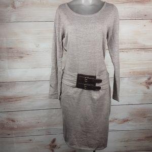 New York & Company Knit Drop Waist Belted Dress S